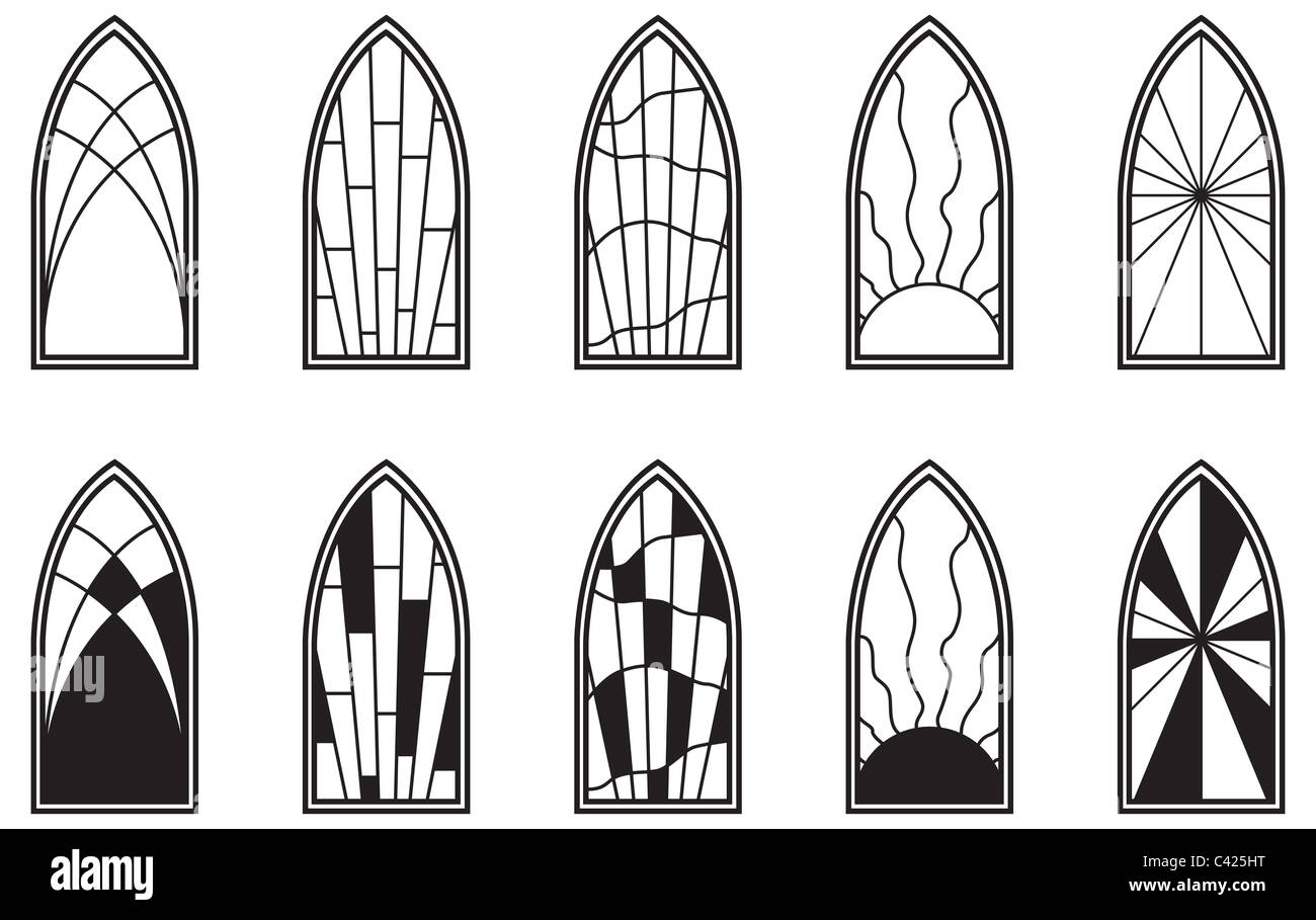 Vector art depicting isolated stained glass window - Stock Image