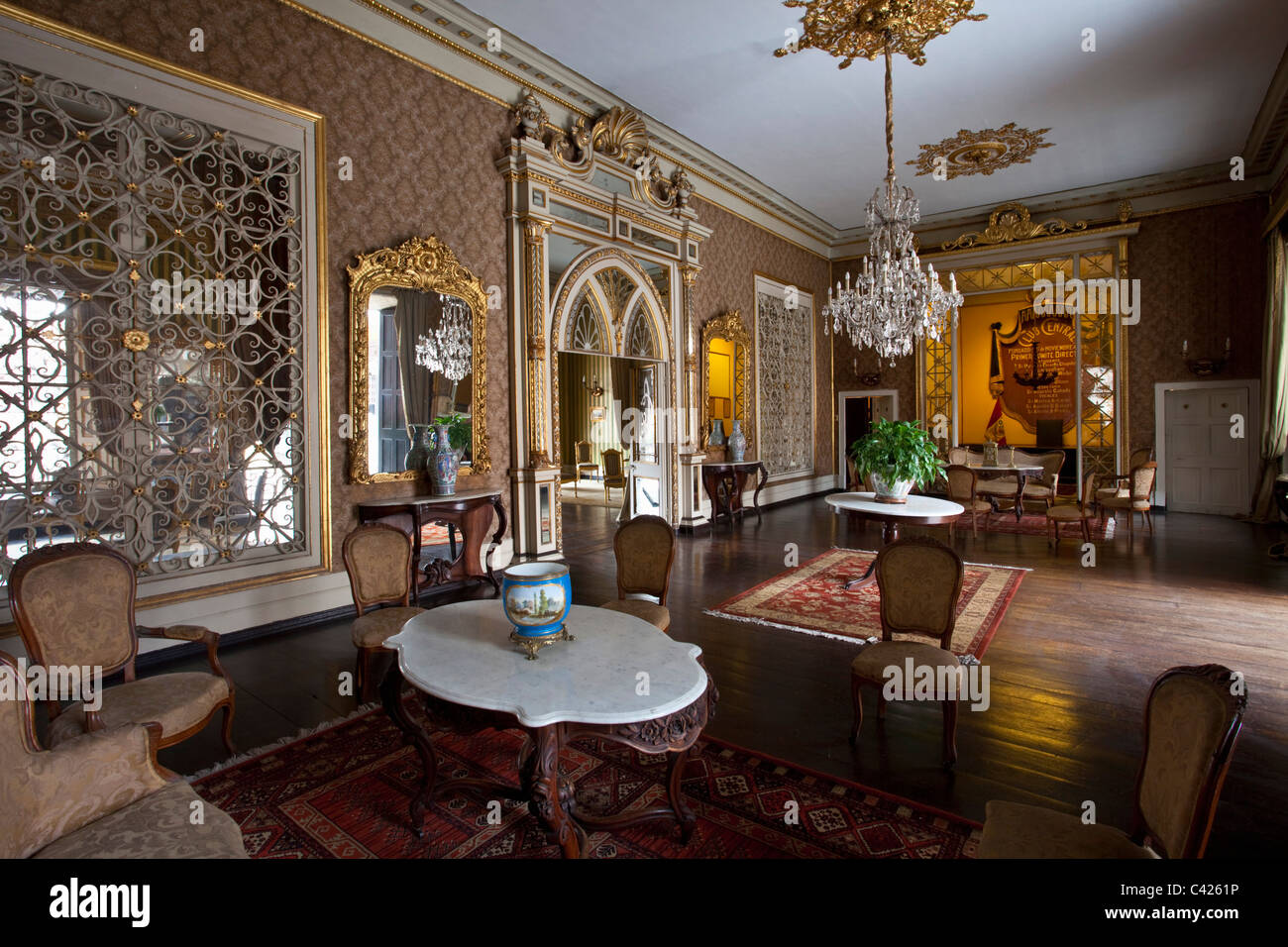 Peru, Trujillo, Colonial room in El Palacio de Iturregui, seat of the Club Central de Trujillo. - Stock Image