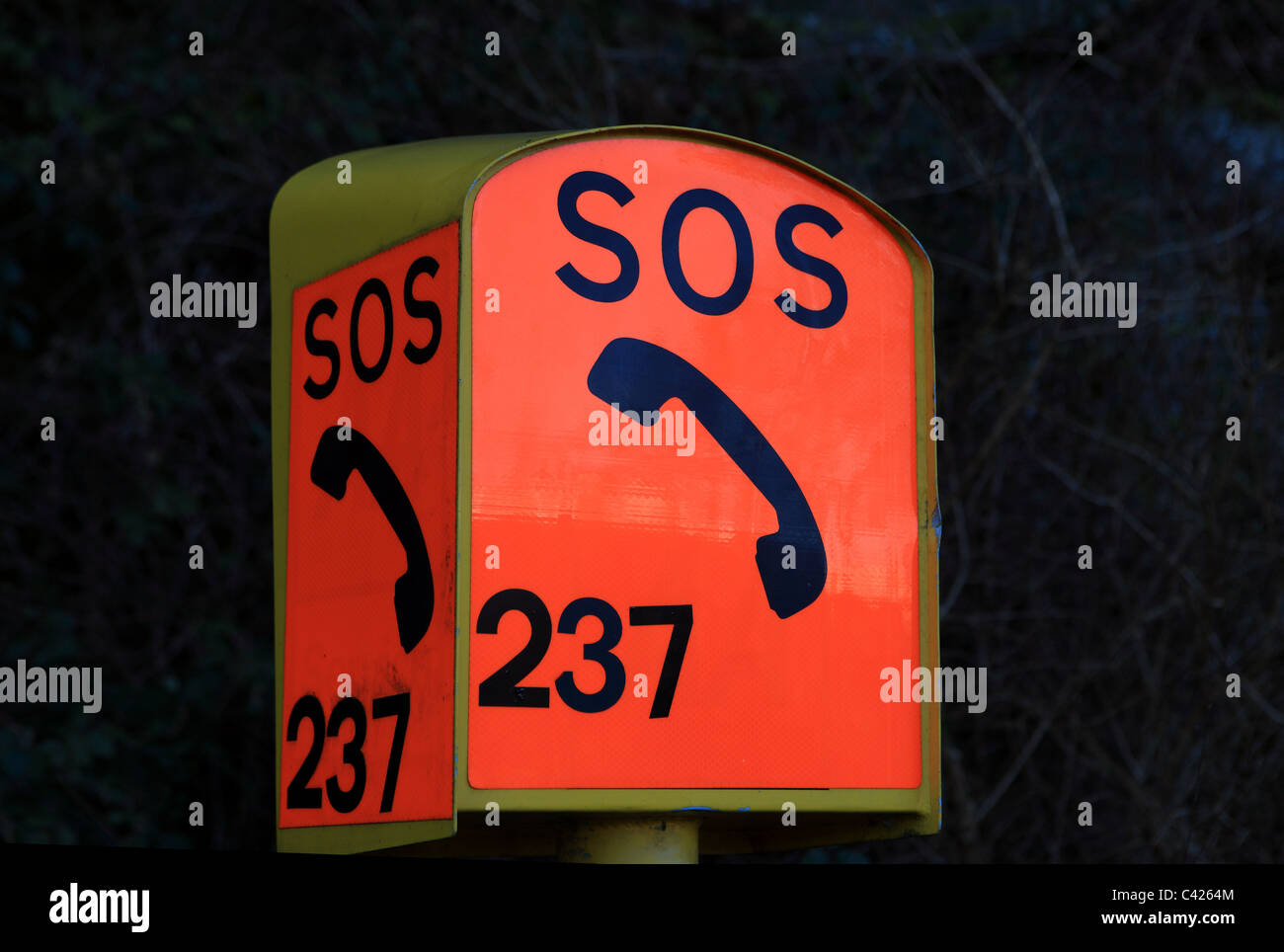 SOS road side telephone box - Stock Image