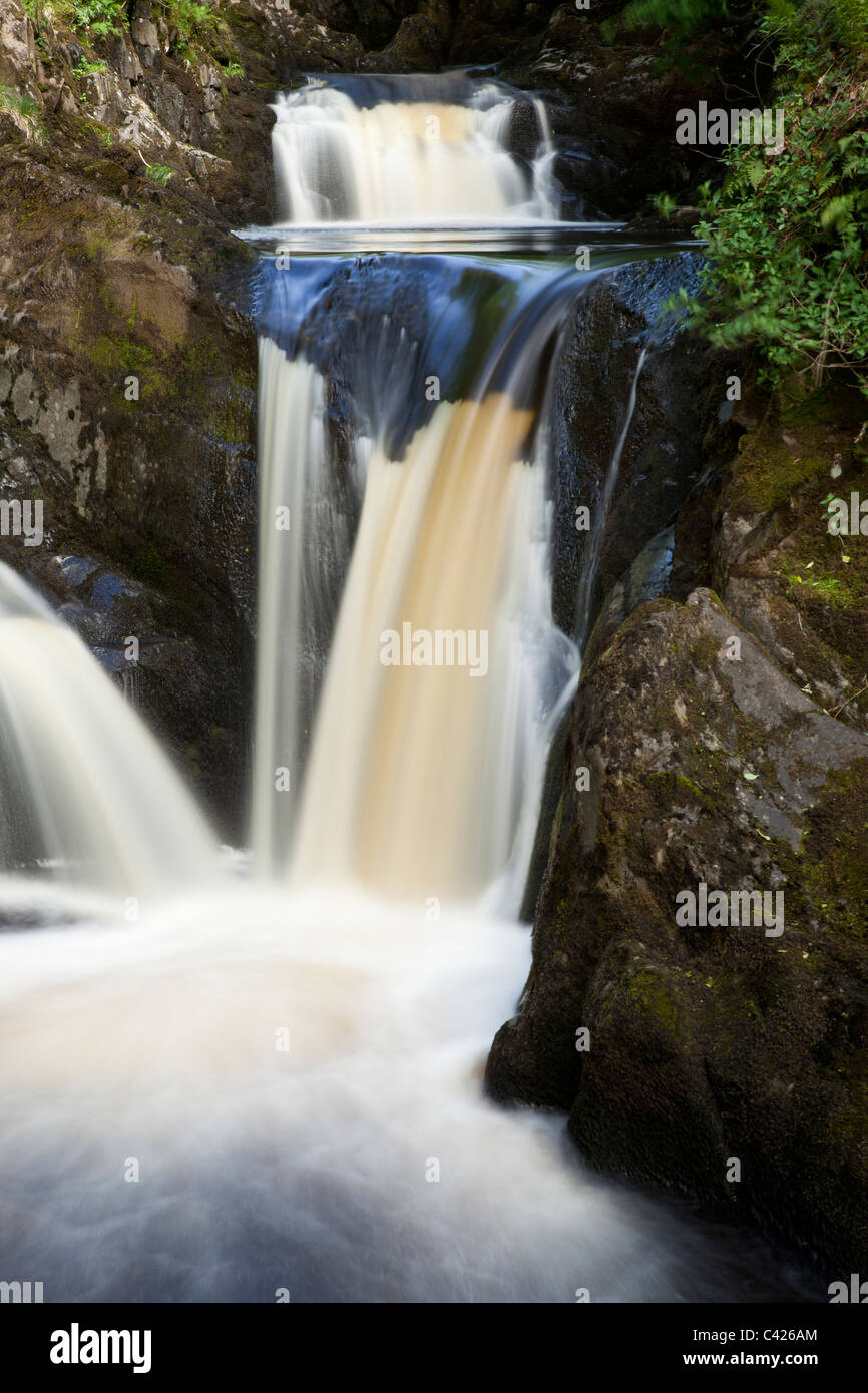 Pecca Twin Falls, River Twiss, on the Ingleton Waterfall Trail, North Yorkshire - Stock Image