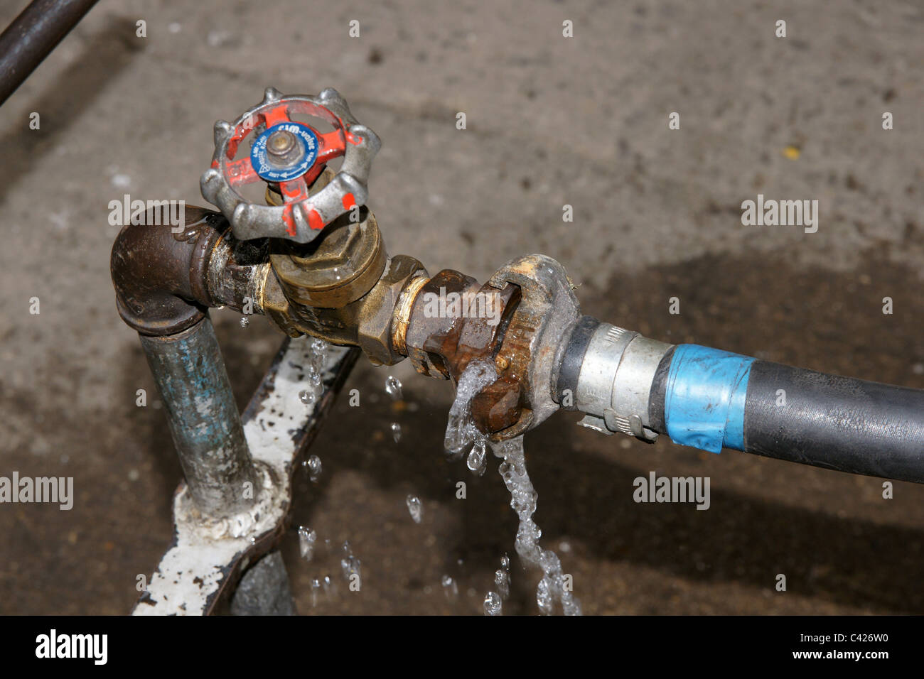 Leaky tap stand pipe water leak Stock Photo: 36928668 - Alamy