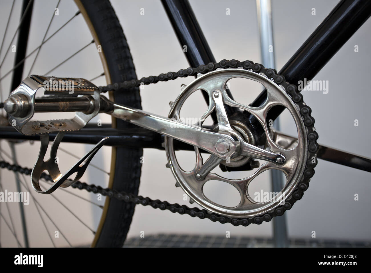 Old times bicycle detail view - Stock Image