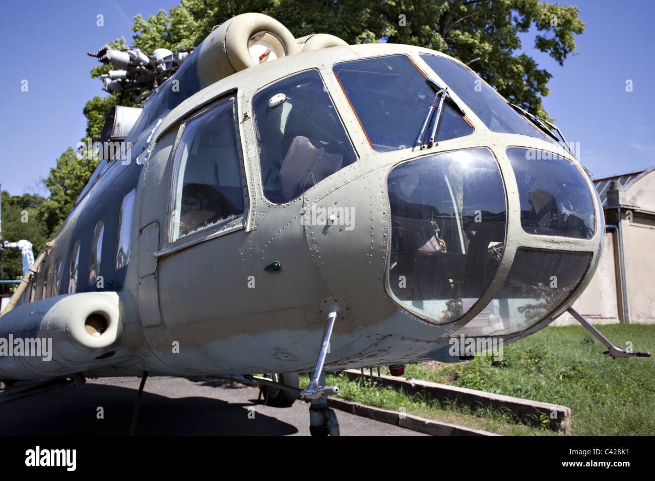 Russian military helicopter on ground - Stock Image