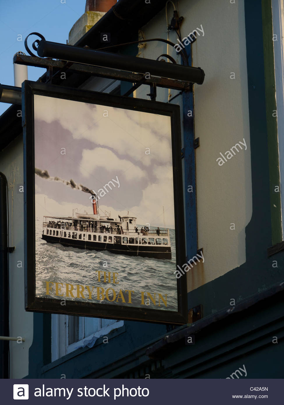 The Ferry Boat Inn Pub Sign Hayling Island Hampshire England UK - Stock Image