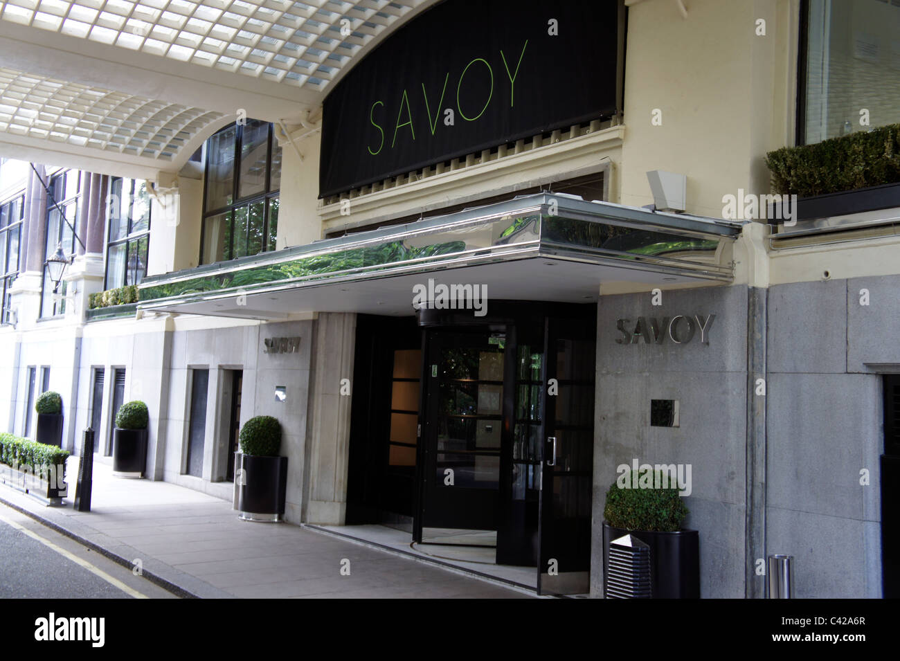 Savoy Place entrance to the savoy Hotel, London England - Stock Image