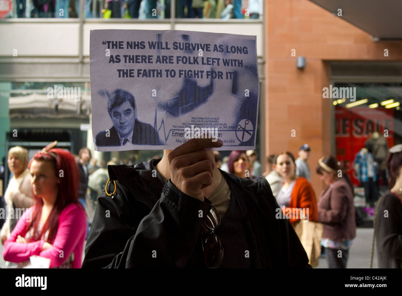 UK Uncut protester and the legacy of Nye Bevan, founder of the NHS - Stock Image