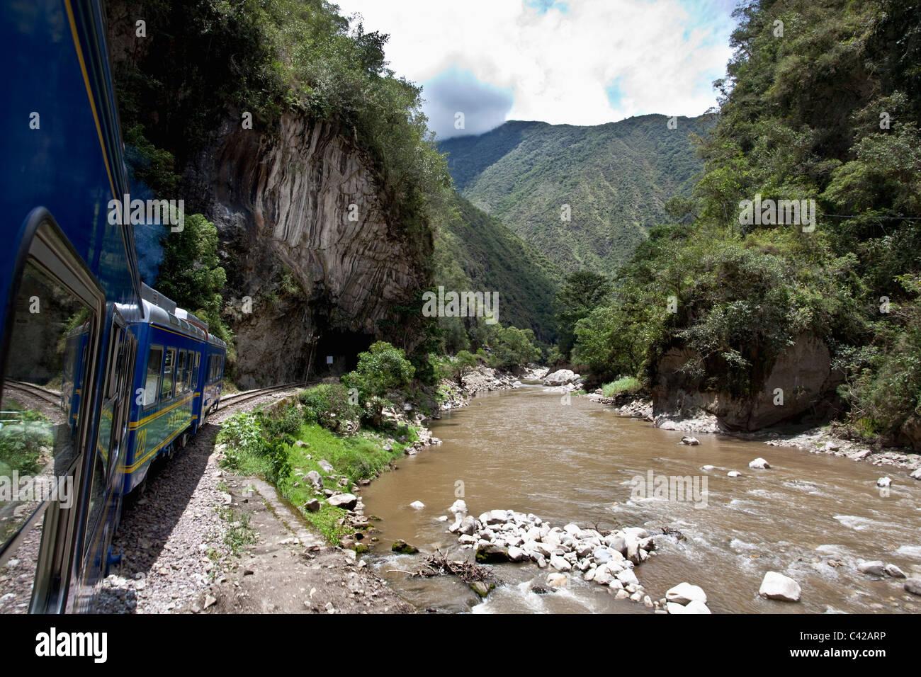 Peru, Aguas Calientes, Machu Picchu, Train from Ollantaytambo to Aguas Calientes. Stock Photo