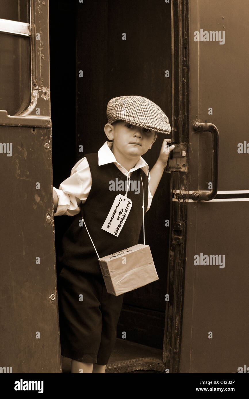 World War 2 Child refugee _ Re-enactment at a British Railway Station _The 1940, 1941, 1942, 1943, 1944,  Wartime - Stock Image