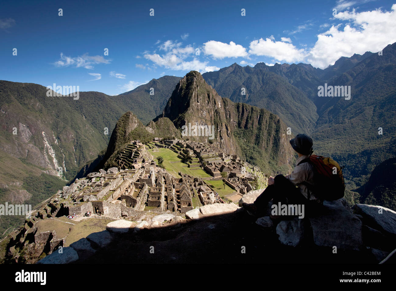 Peru, 15th-century Inca site located 2,430 metres (7,970 ft) above sea level. Tourist. - Stock Image