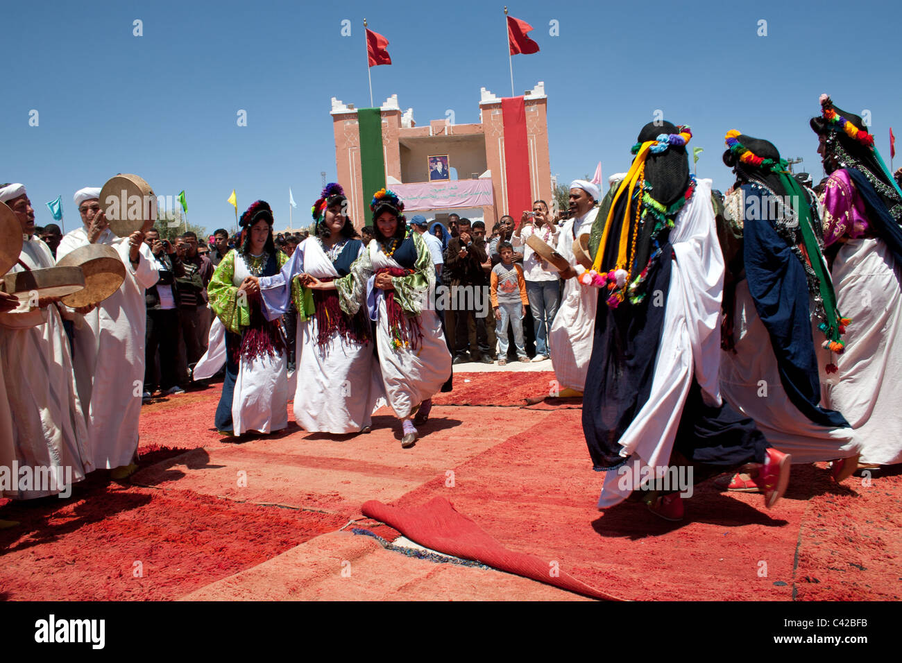 Traditional Performers During The Annual Rose Festival El Kelaa