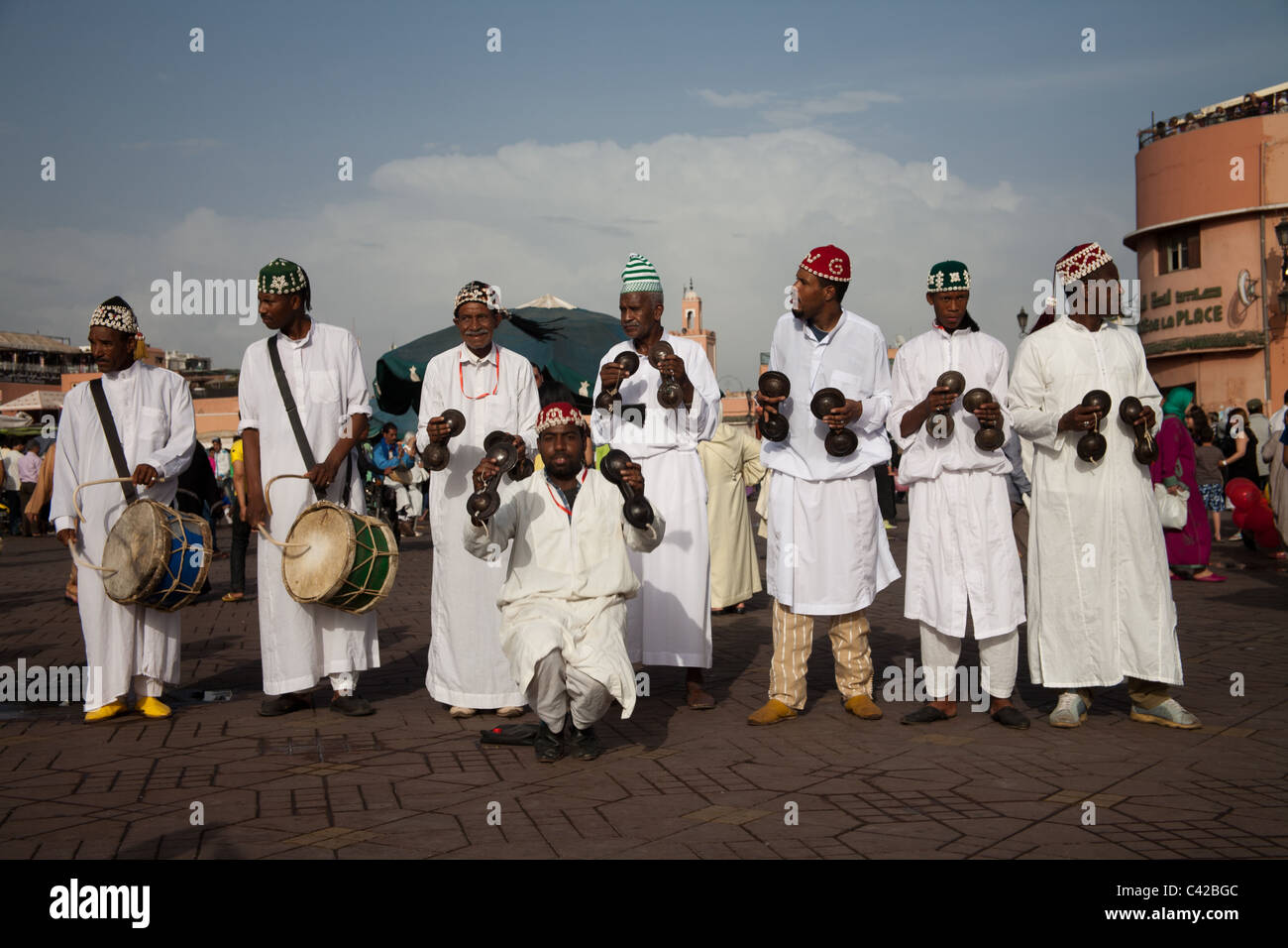 Street entertainers at the Djemaa el Fna Morocco - Stock Image