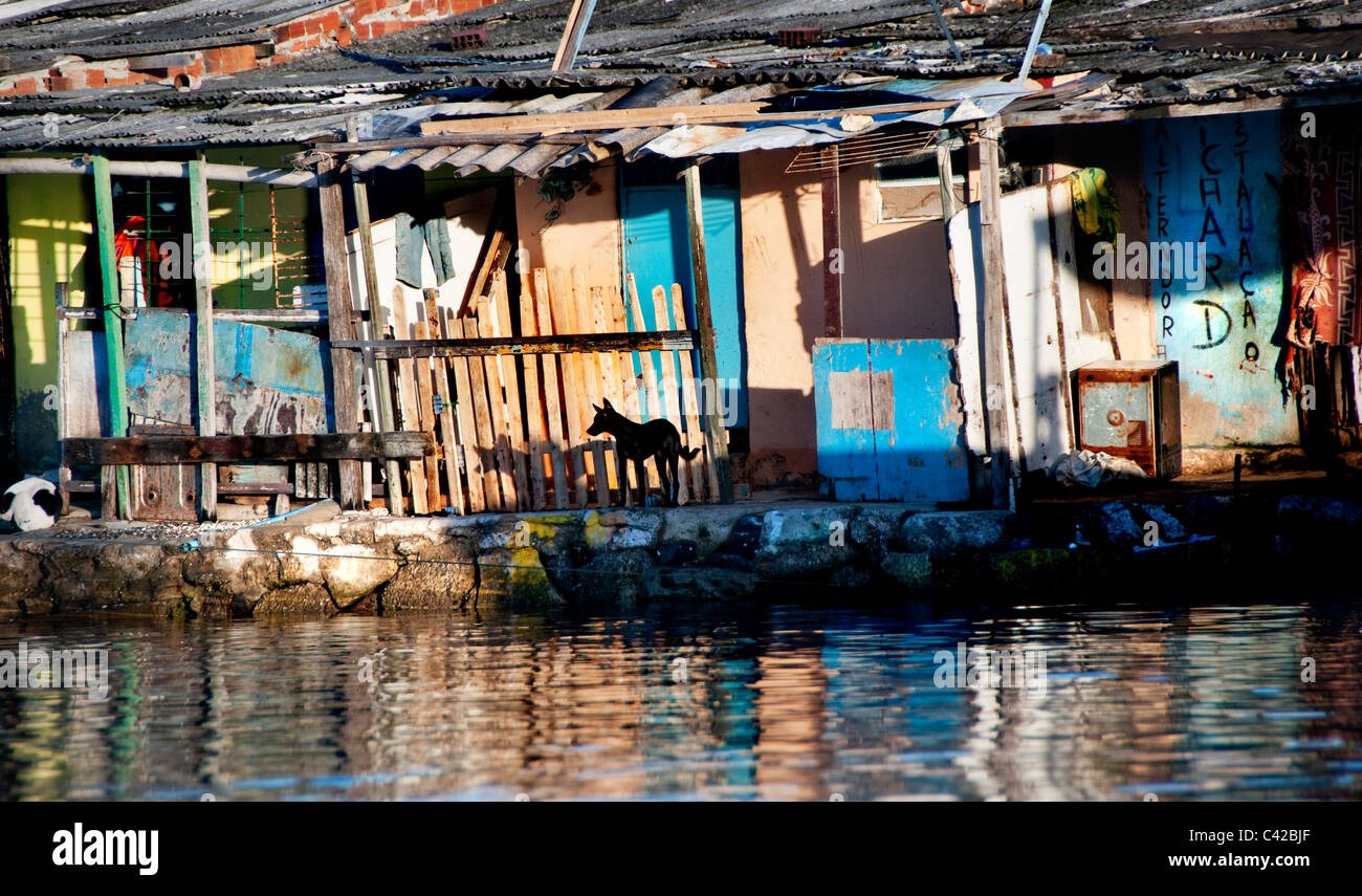 Palafitas or Stilt dwellers living and fishing on the river that flows through Recife in Northeastern Brazil. - Stock Image