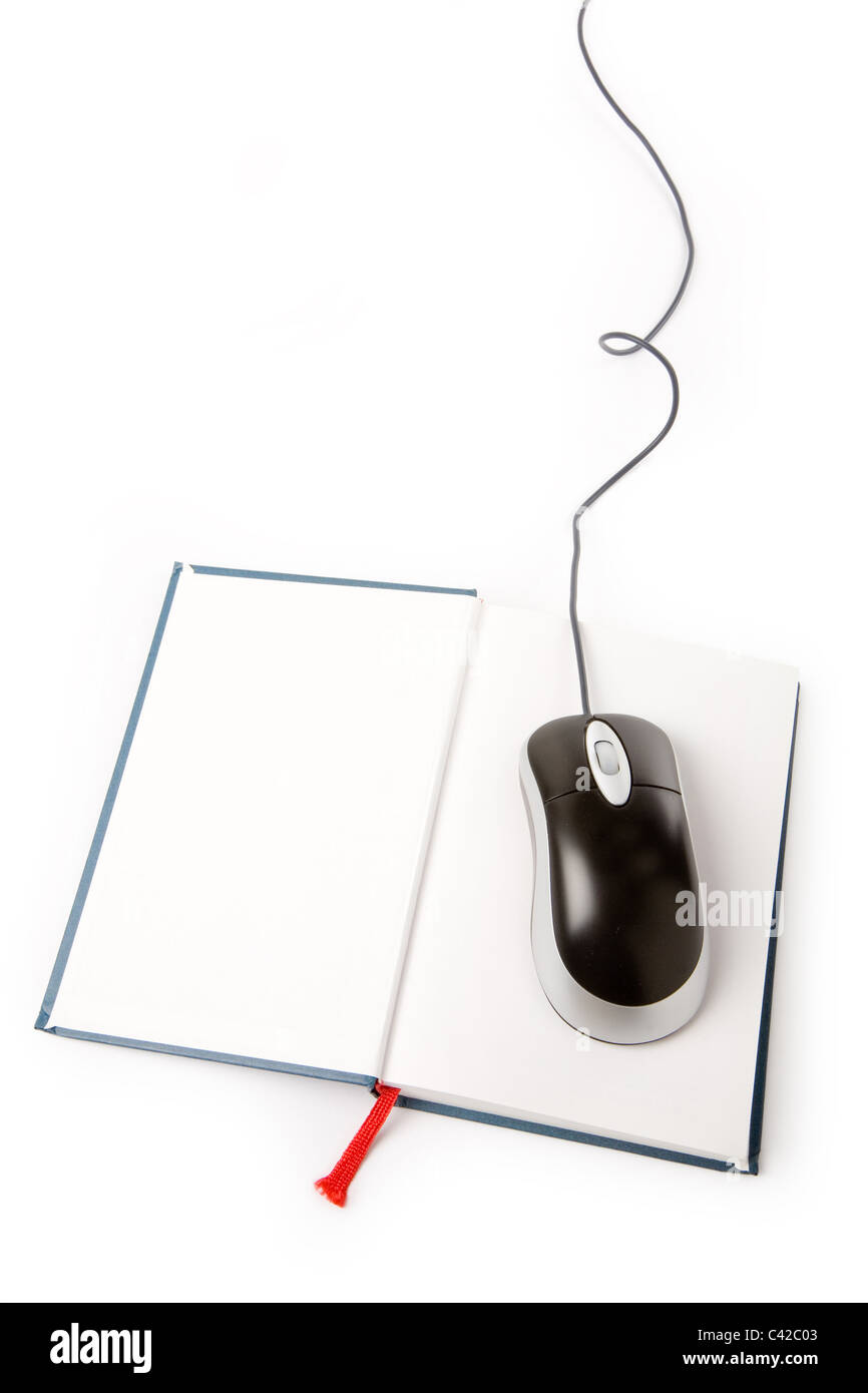 Computer Mouse And Book Concept Of Online Education Stock Photo Diagram Part In This