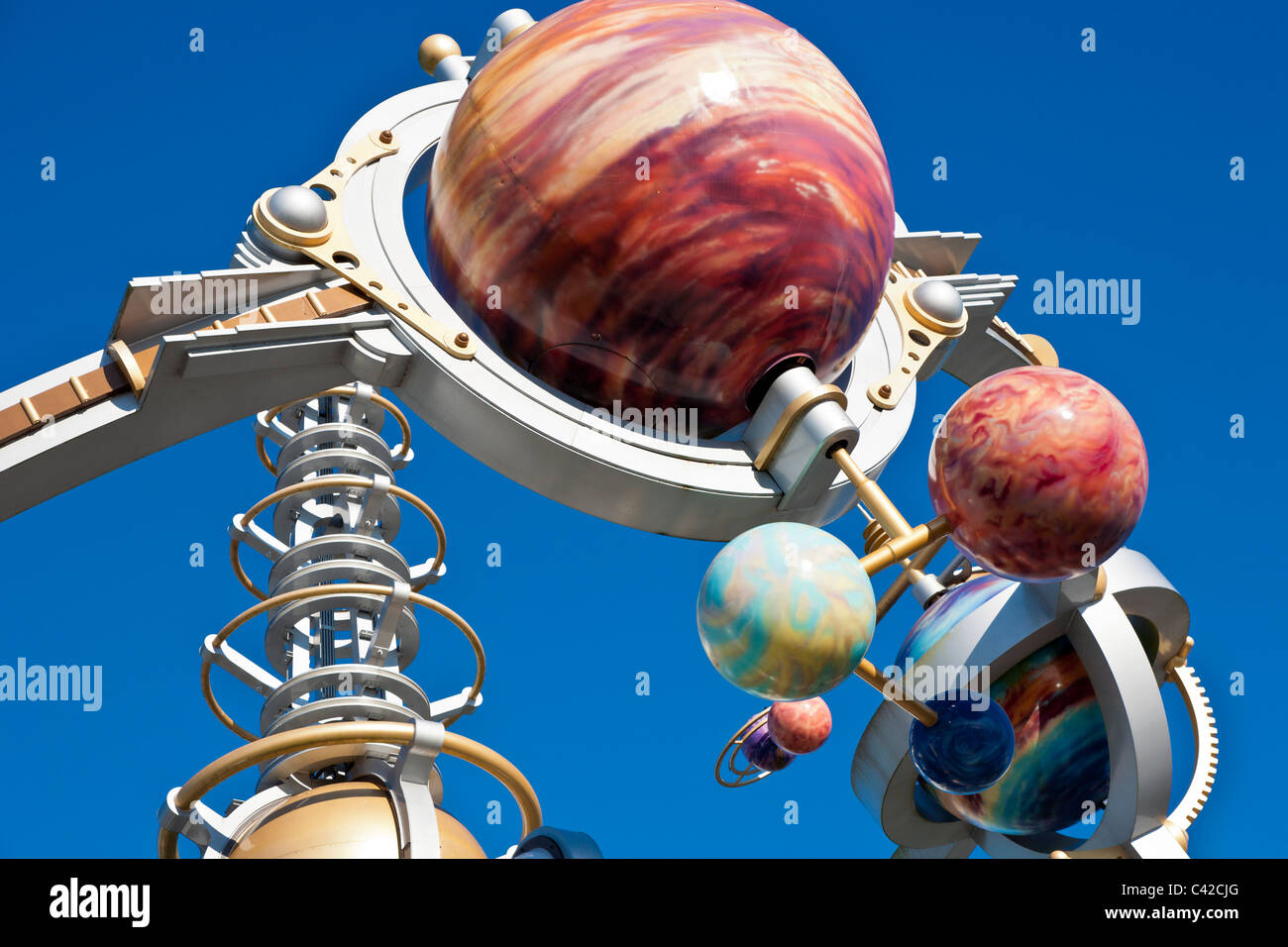 Decoration on top of the Astro Orbiter attraction ride in Tomorrowland at the Magic Kingdom in Disney World, Kissimmee, - Stock Image