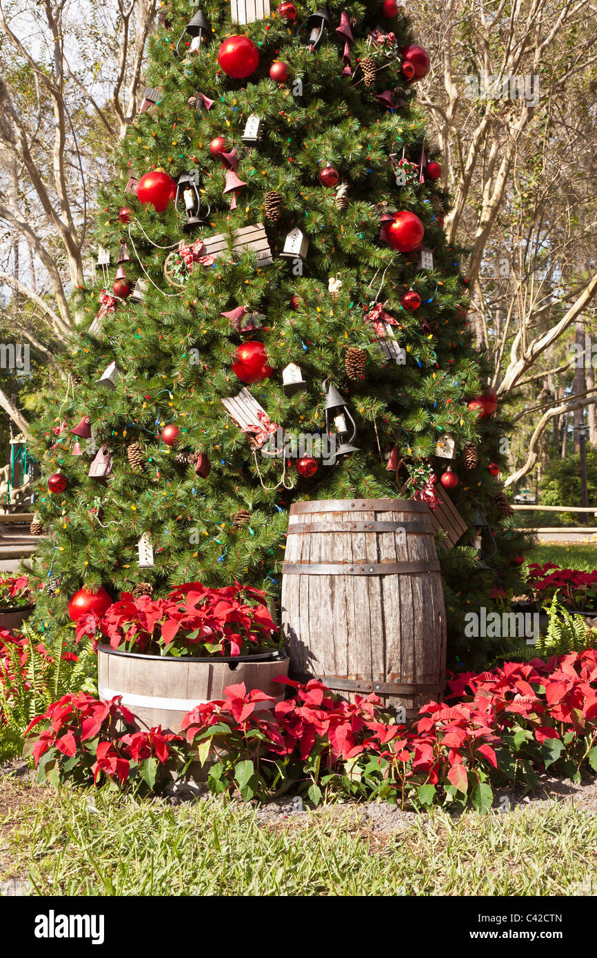 Christmas Holiday Tree And Decorations At Fort Wilderness Resort In