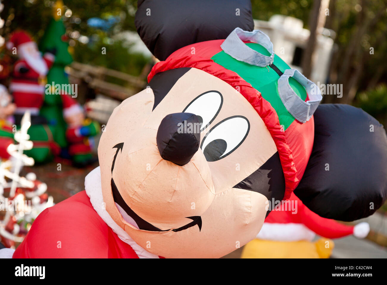 mickey mouse inflatable christmas holiday decorations in fort wilderness resort at walt disney world kissimmee - Disney Inflatable Christmas Decorations