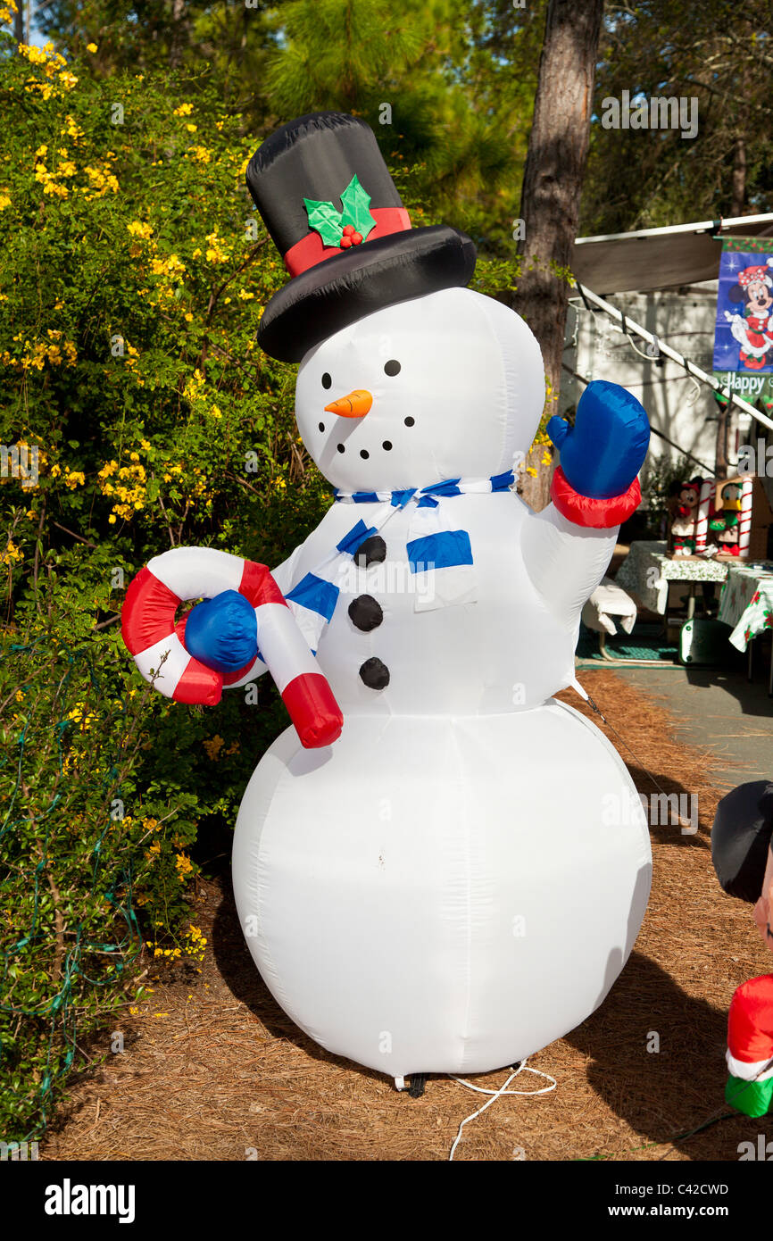 Snowman inflatable Christmas holiday decorations in Fort Wilderness Resort at Walt Disney World, Kissimmee, Florida, - Stock Image
