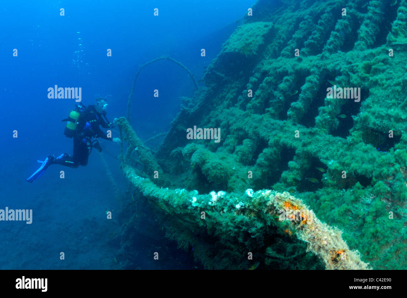 Scuba diver on The New Wreck off Puerto del Carmen, Lanzarote Stock Photo