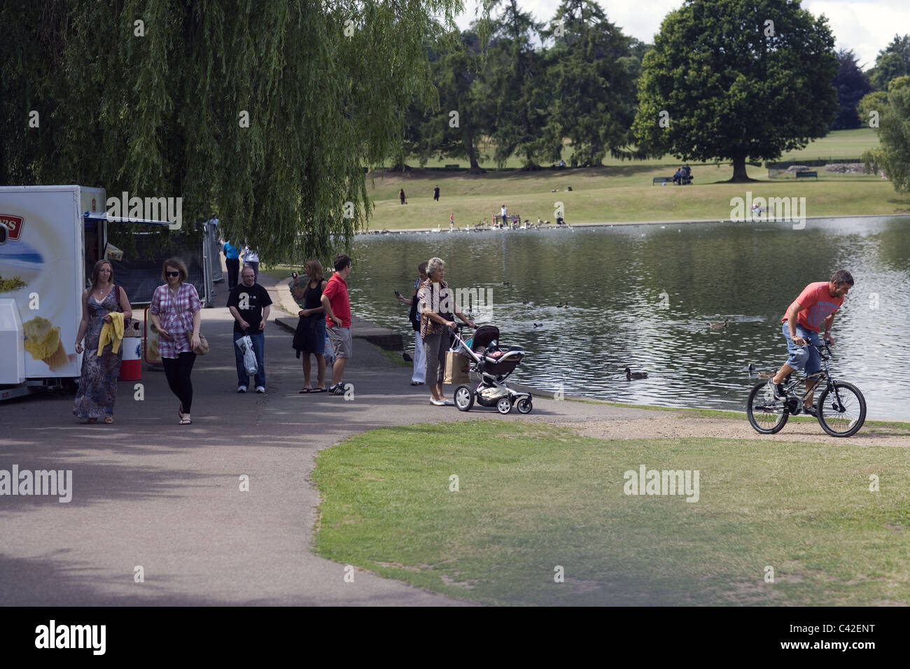 Verulamium Park. St. Albans. Hertfordshire. Home Counties; England. Summer weekend use of the park. - Stock Image
