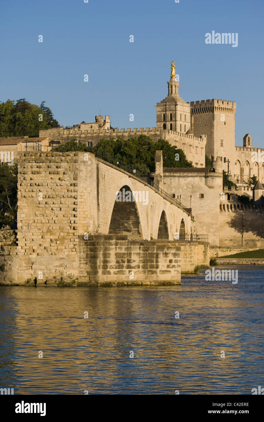 The Pont Saint-Bénezet, also known as the Pont d'Avignon, is a famous medieval bridge in the town of Avignon, - Stock Image