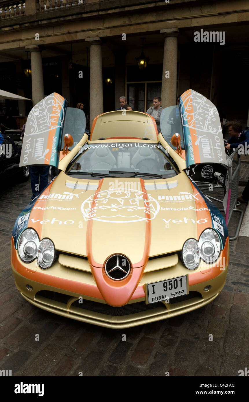 McLaren Mercedes SLR car with open gull wing doors parked at Covent Garden the start of the Gumball rally 3000. & McLaren Mercedes SLR car with open gull wing doors parked at Covent ...