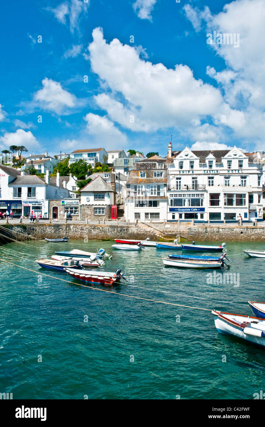 Boats in the harbour at St Mawes Cornwall England - Stock Image