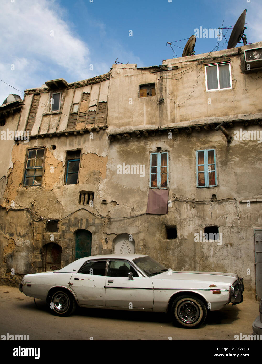 Damascus Syria Old American classic car Syria - Stock Image