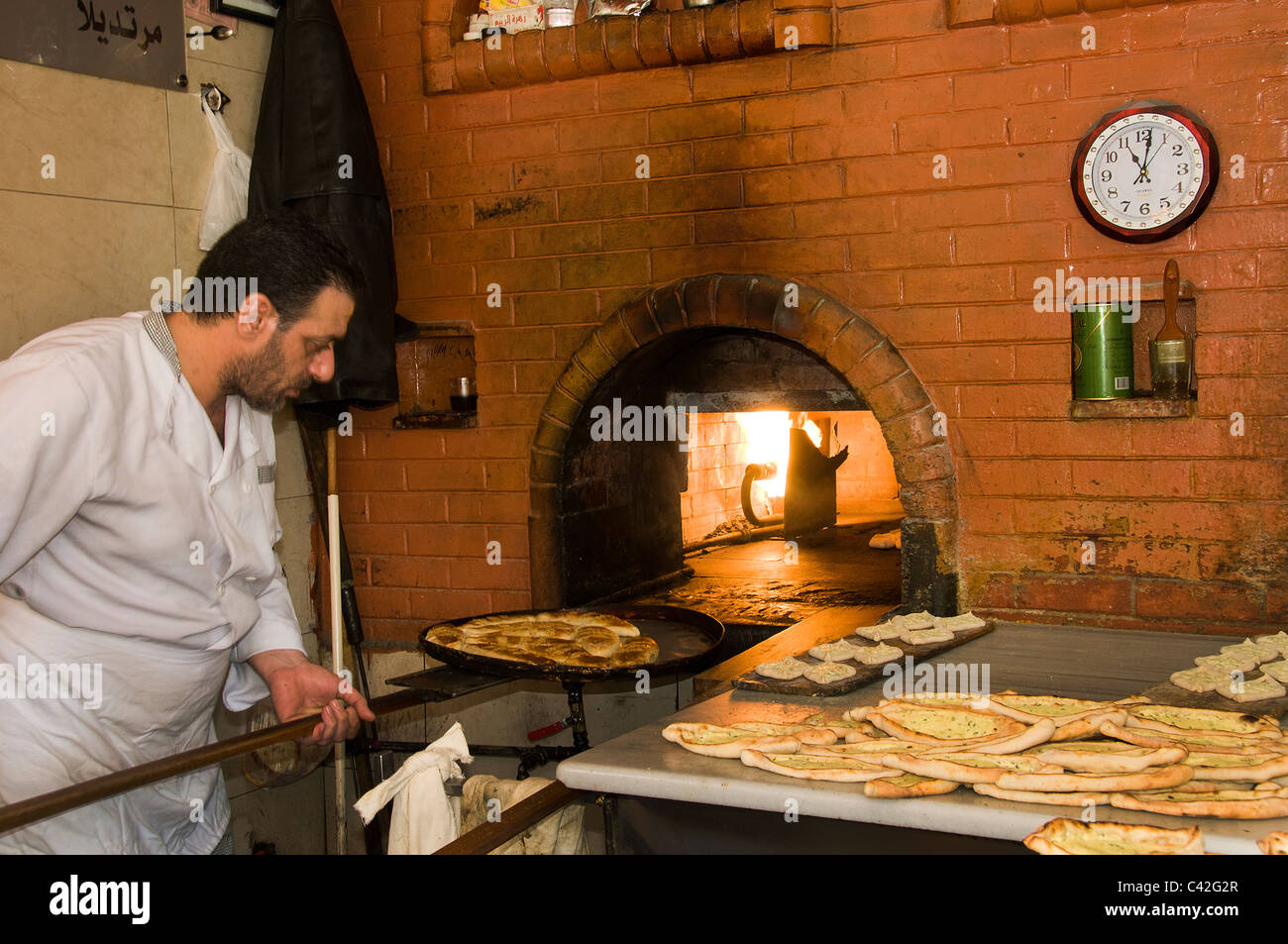 Damascus Syria Syrian Baker Bakery Souq Bazaar - Stock Image
