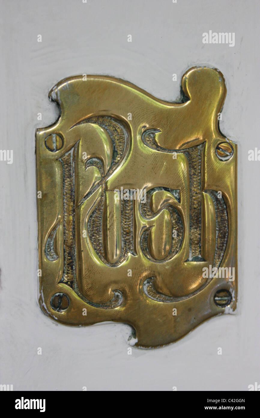 Brass Victorian Push Sign - Stock Image