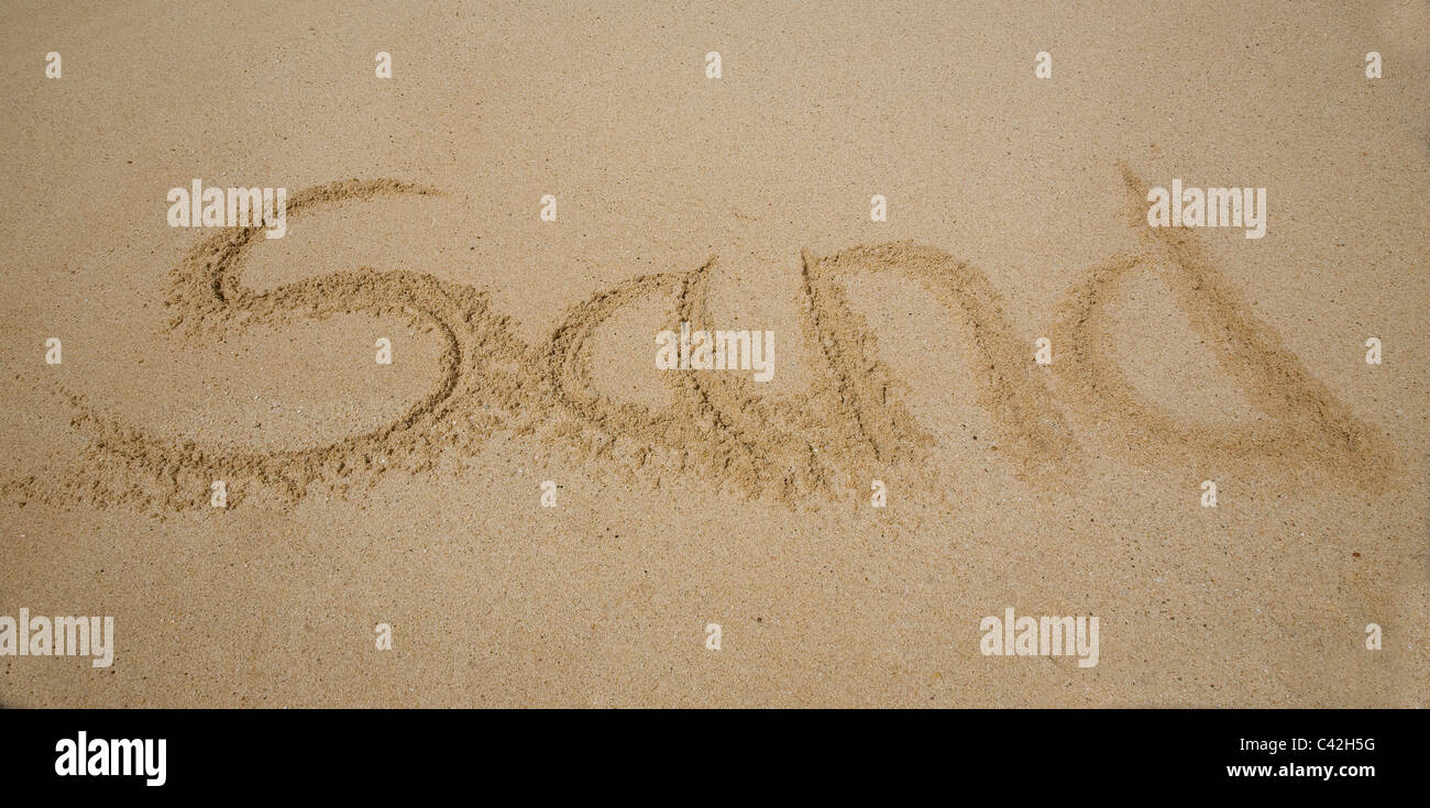 Sand Writing in the Sand - Stock Image