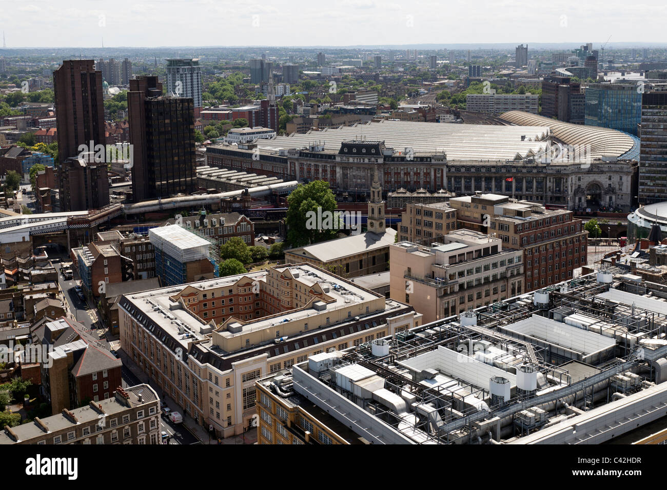 Aerial view of Waterloo Railway Station, from the Southbank, London, England, UK. - Stock Image