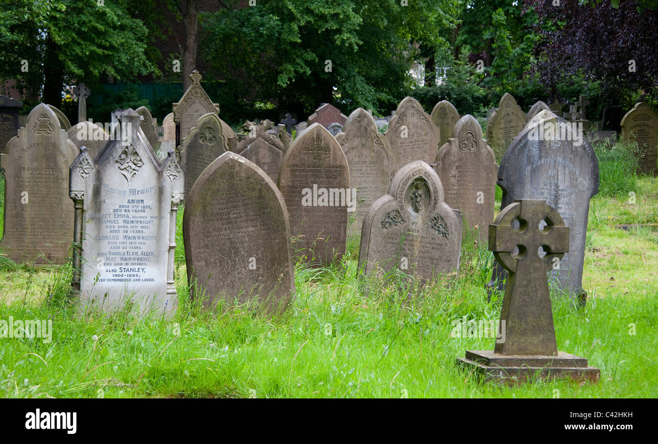 Graves in Cheshire graveyard, UK - Stock Image
