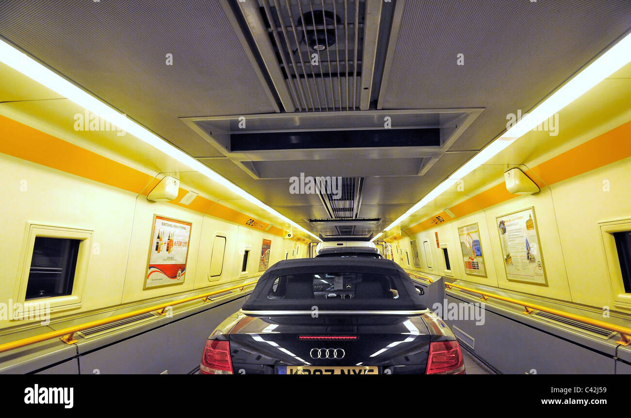 Interior of eurotunnel train carriage with cars stock for Car carriage