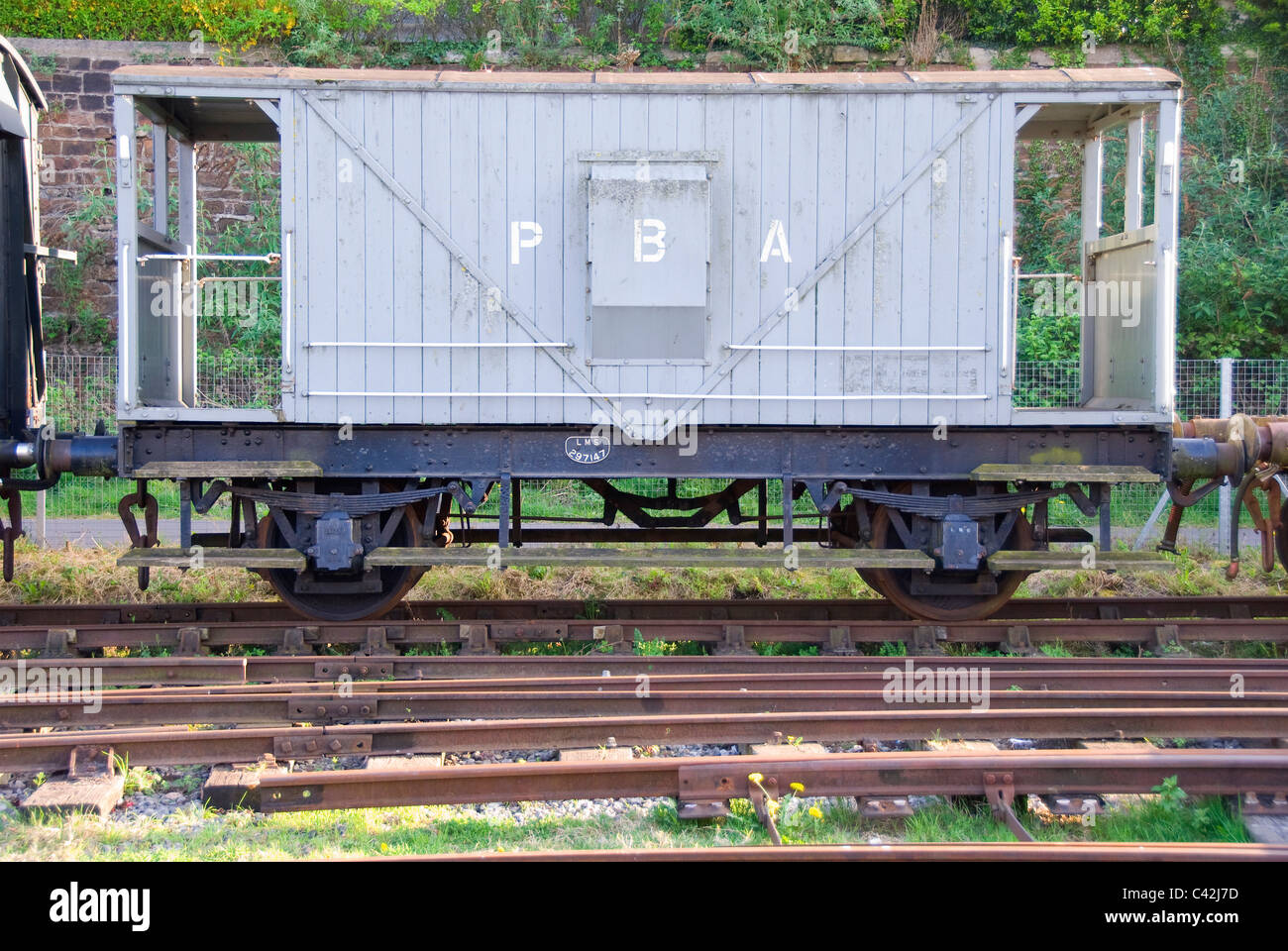 Historic railway waggon, PBA Port of Bristol Authority, Bristol harbour, England, UK - Stock Image