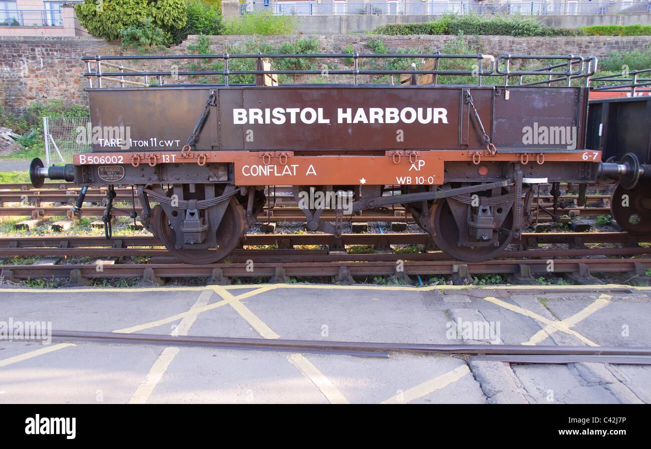 Historic railway waggon, Bristol harbour, England, UK - Stock Image