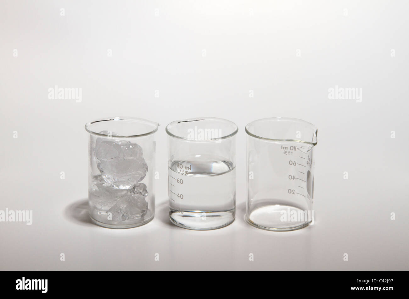 States of matter. Three beakers containing ice, water and air (that has some water vapor in it). - Stock Image