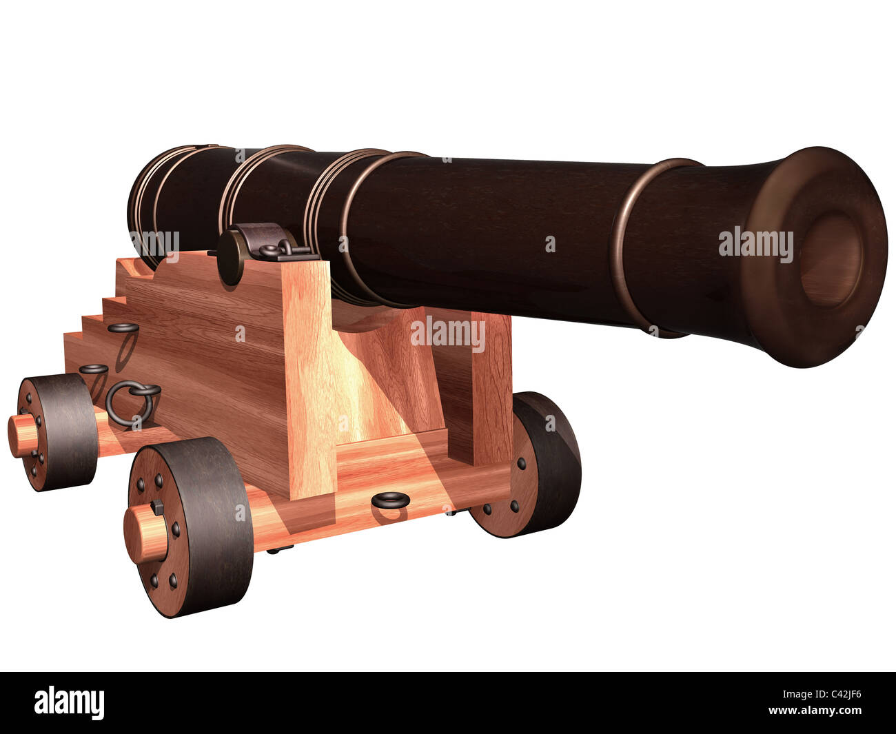 Isolated illustration of an antique ships cannon - Stock Image
