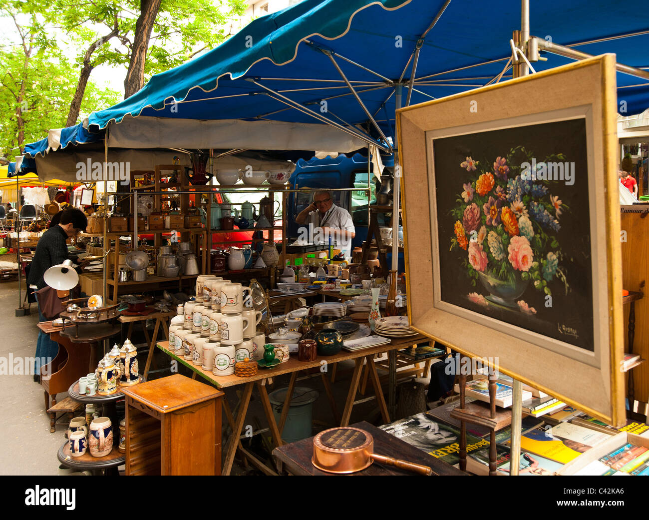 Paris Flea Market ( Brocantte ) in Avenue Secretan in Paris France ...