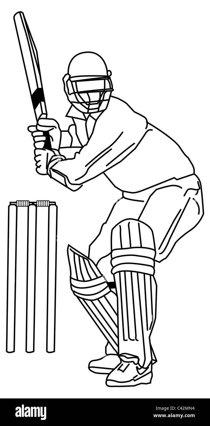 Batsman - Line illustration for Cricket Batsman - Stock Image