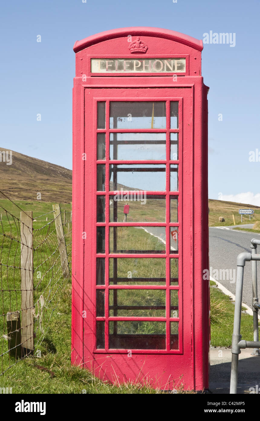 Rural red telephone box kiosk. Scotland, UK, Britain, Europe. - Stock Image