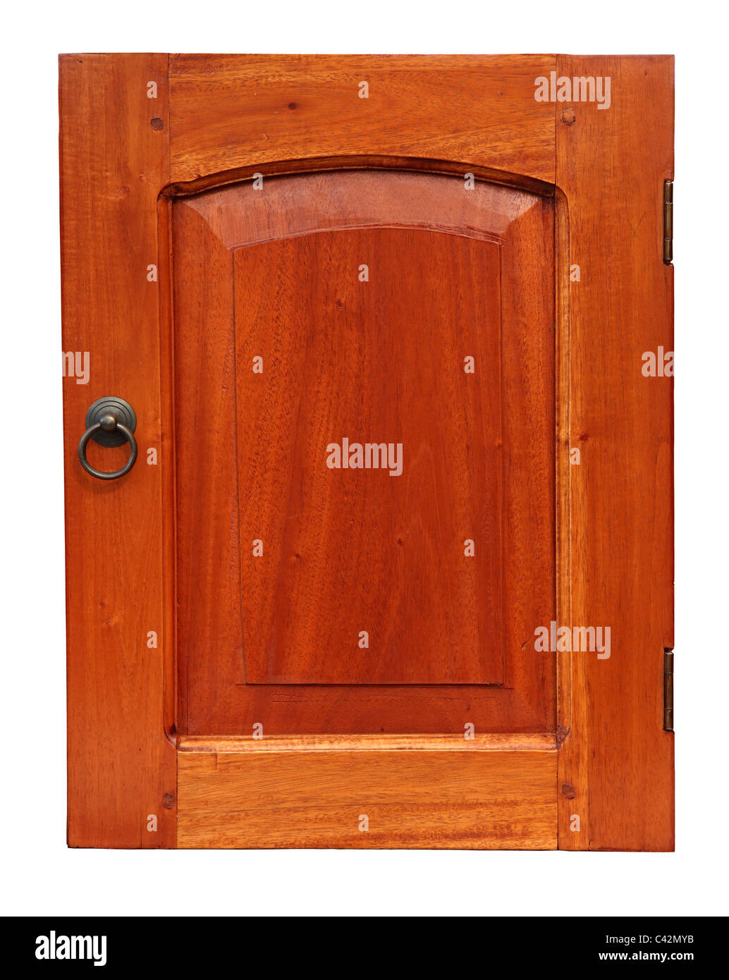 Wooden Cupboard Door Isolated on White Stock Photo