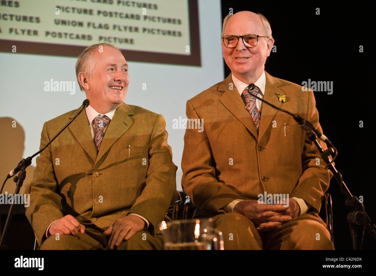 Gilbert and George artists pictured at Hay Festival 2011 Stock Photo