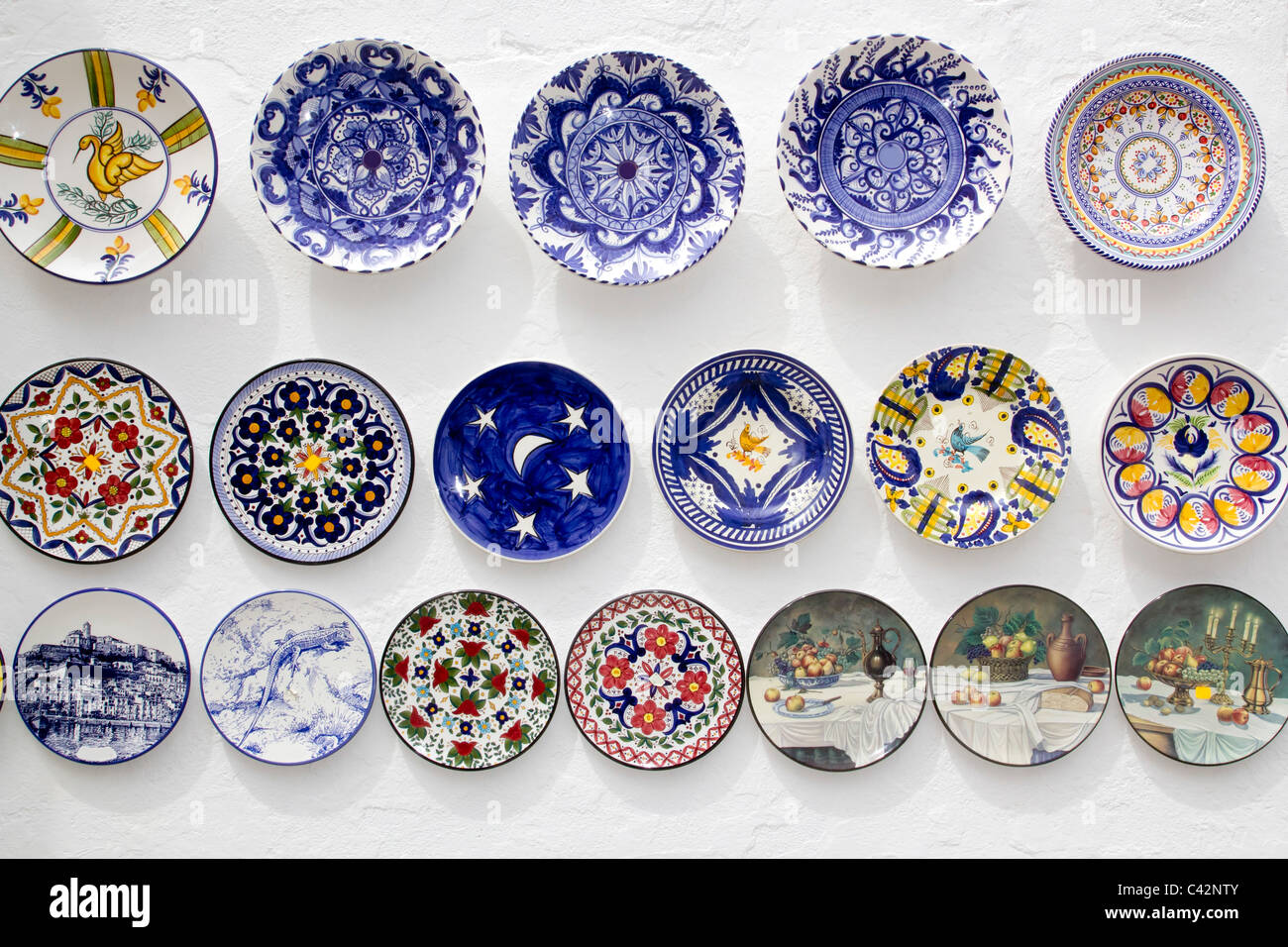 ceramic plates decorated hand painted crafts Mediterranean Ibiza - Stock Image & Ceramic Plates Stock Photos \u0026 Ceramic Plates Stock Images - Alamy