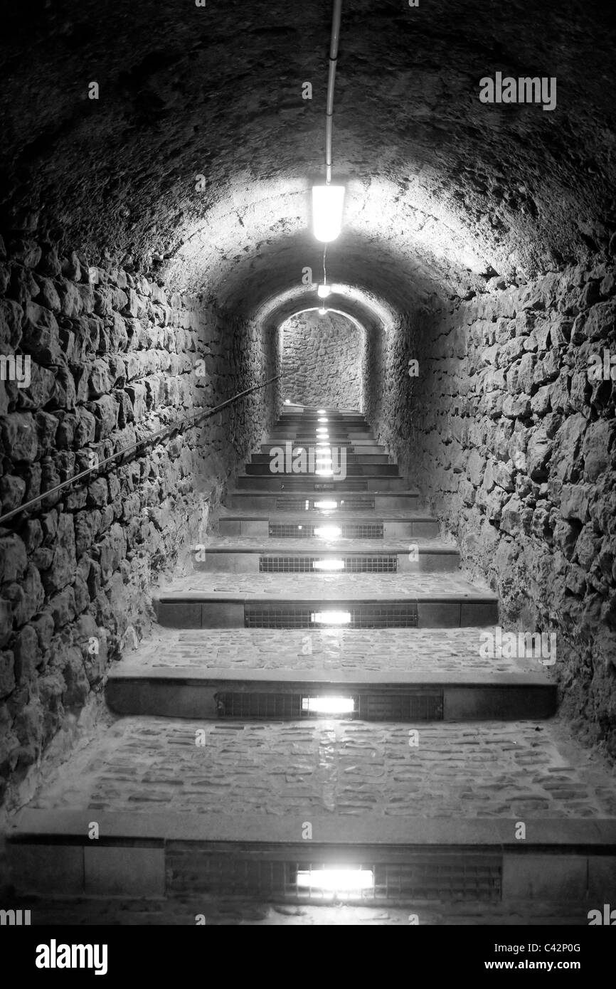Ibiza island tunnel way up to the castle light effect Balearic Island - Stock Image