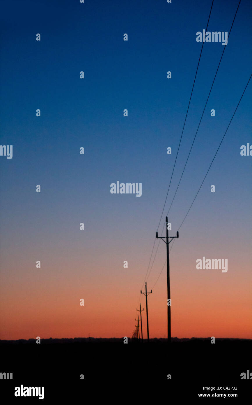 electric power lines in sunset blue red orange sunrise - Stock Image