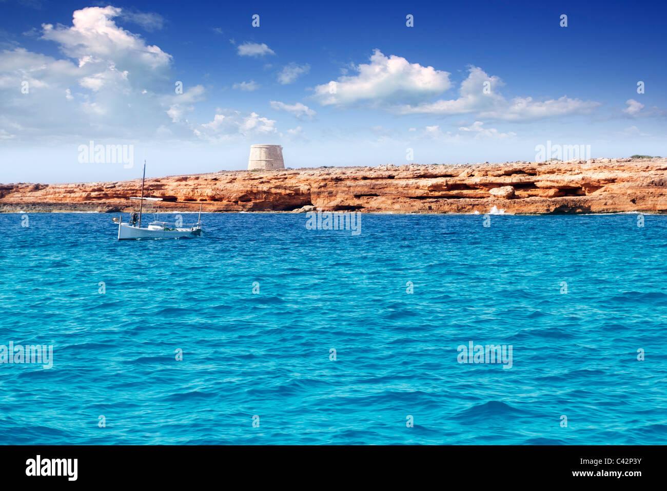 gavina tower in Formentera island traditional white boat balearic Spain - Stock Image