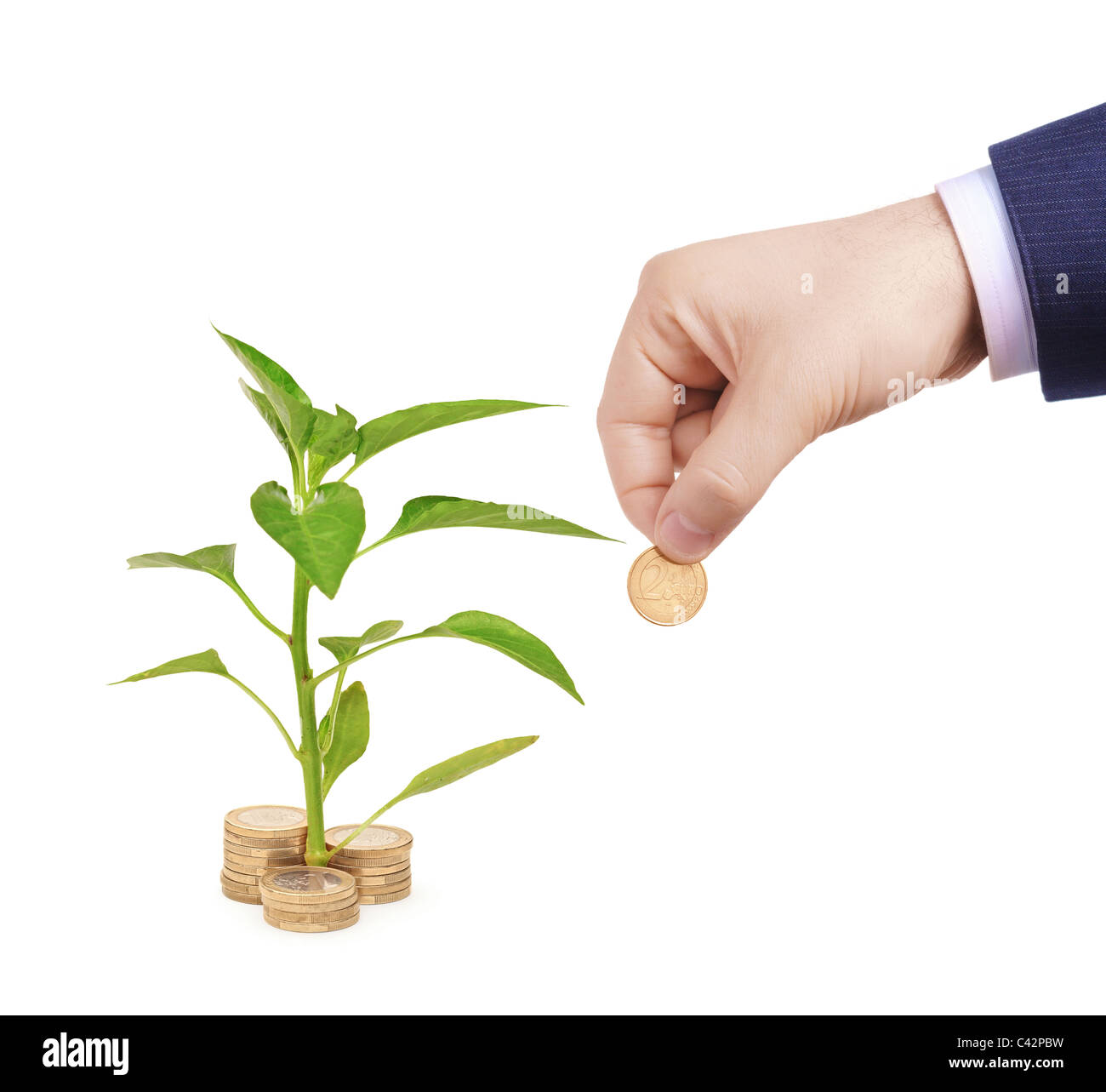 Sapling growing from pile of coins and hand holding a coin - Stock Image