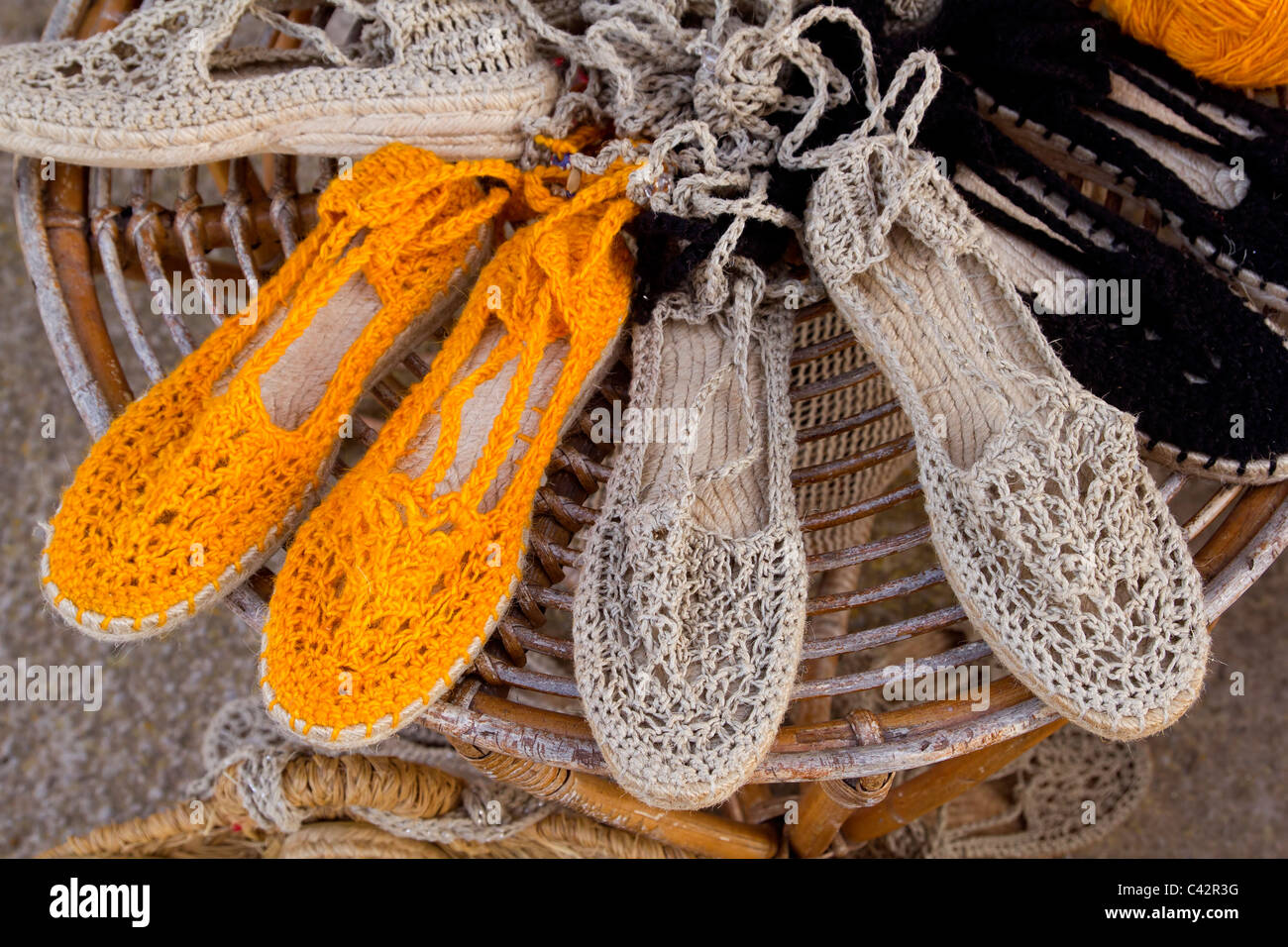 Ibiza mediterranean traditional handcraft handwoven shoes - Stock Image