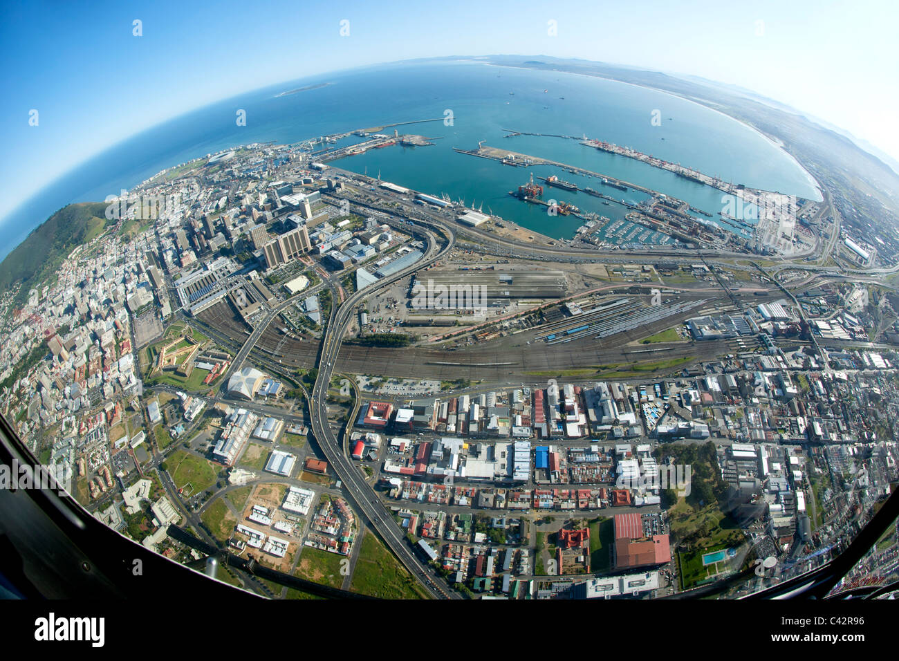 City Of Cape Town: Fish-eye Lens Aerial View Of The City Of Cape Town In