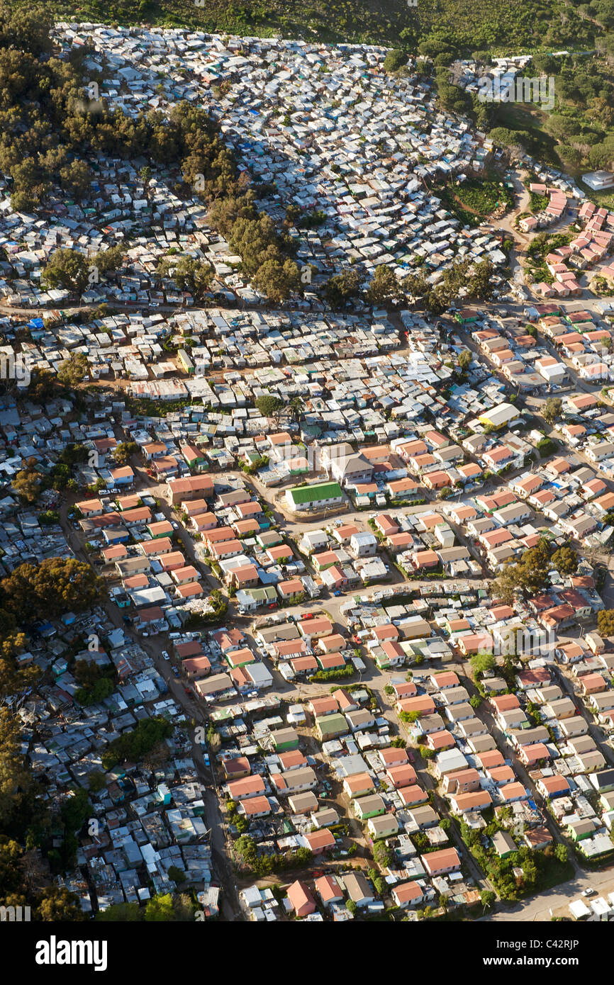 Aerial view of Imizamo Yethu township (aka Mandela Park) in Hout Bay in Cape Town, South Africa. Stock Photo